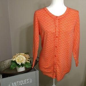 Merona Sweaters - Merona Orange Herringbone Pattern Cardigan L